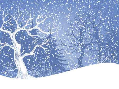 snow background: Winter landscape with fir trees and falling snow. Christmas illustration. Vector illustration contains gradient meshes. Illustration