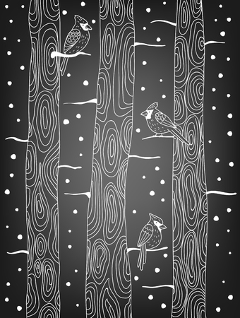 snow cardinal: Three cardinal birds perching on trees on  chalkboard background with falling snow. Winter illustration. Vector illustration contains gradient meshes. Illustration