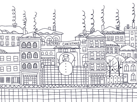 christmas winter: Doodle winter town with snowman and houses with smoking chimneys. Christmas illustration.