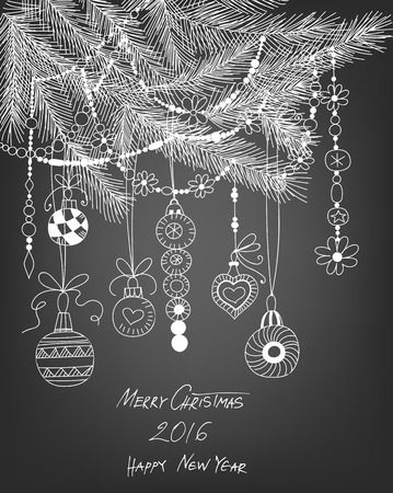 gradient meshes: Hand  drawn fir branches with Christmas decoration- baubles and garlands on chalkboard background. Vector illustration contains gradient meshes.