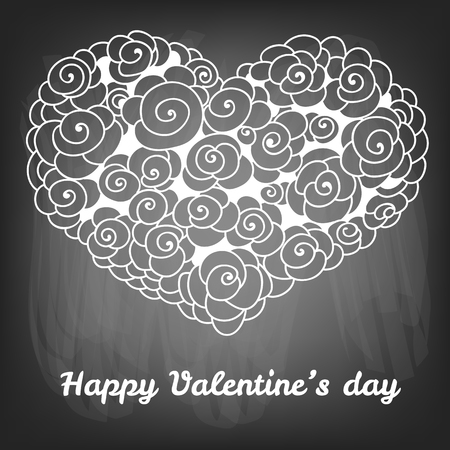 gradient meshes: Valentines day card.Doodle flowers forming heart and lettering on chalkboard background.  illustration contains gradient meshes.