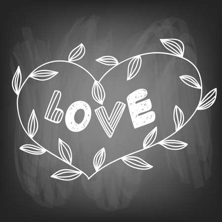 heart shaped leaves: Valentines day card.  heart shaped frame made of branches with leaves and lettering on chalkboard background. illustration contains gradient meshes. Illustration