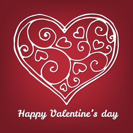 matrimonio feliz: Tarjeta del día de tarjetas del día de San Valentín. Corazón decorativo y letras sobre fondo rojo. La ilustración contiene mallas de degradado.
