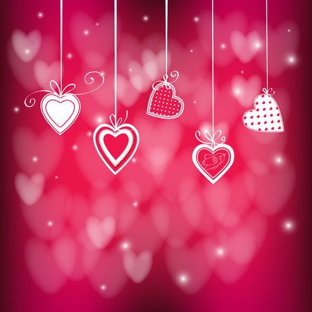Valentines day illustration. Hanging hearts tied with bows on red background.Vector illustration contains gradient meshes.
