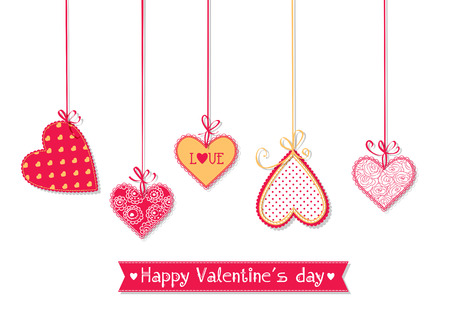 mother day: Valentines day illustration. Hanging hearts tied with bows on white background.