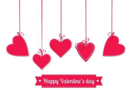 mulher: ilustração Dia dos Namorados. Pendurado corações vermelhos amarrados com laços e fitas com letras no fundo branco.