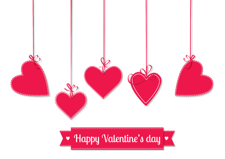hanging on: Valentines day illustration. Hanging red hearts tied with bows and ribbon with lettering on white background.