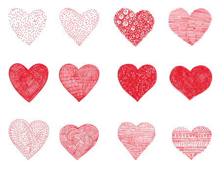 heart hand: 12 doodle hearts. Hand  drawn hearts, elements for Valentines day design.