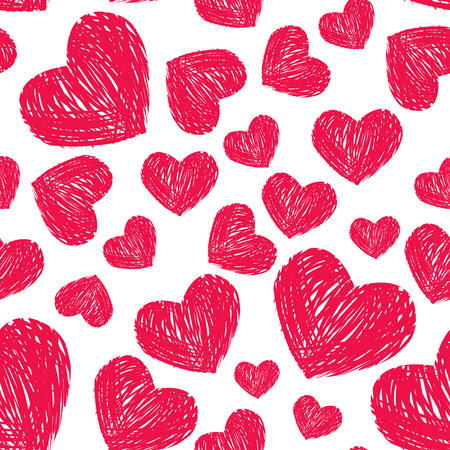 white day: Red scribble hearts on white background. Seamless pattern for Valentines day design. Illustration