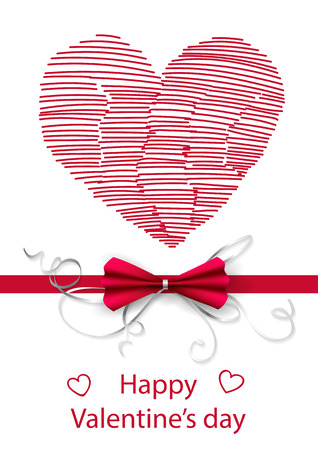 gradient meshes: Valentines day card. Doodle heart and lettering on white background. Vector illustration contains gradient meshes.