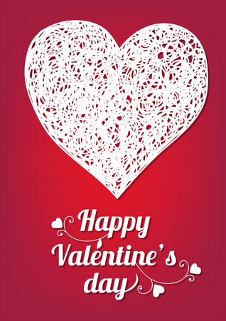 gradient meshes: Valentines day card. Doodle heart and lettering on red background. Vector illustration contains gradient meshes.