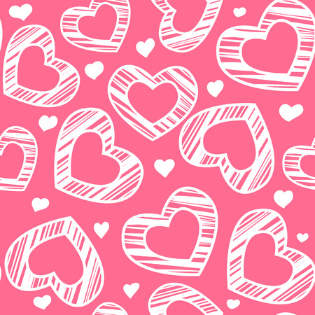 lady in red: White scribble hearts on pink background. Seamless pattern for Valentines day design.