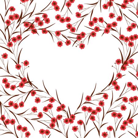 flores de cumpleaños: Marco floral que forman el corazón en el fondo blanco con el espacio para el texto. Tarjetas de San Valentín. Vectores