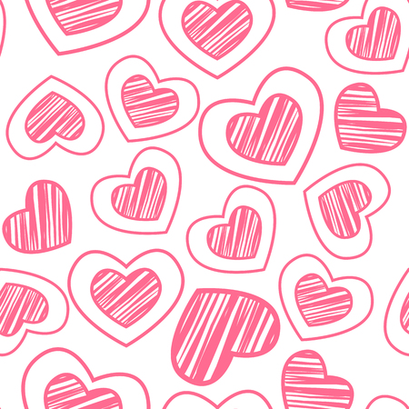 white day: Pink scribble hearts on white background. Seamless pattern for Valentines day design. Illustration
