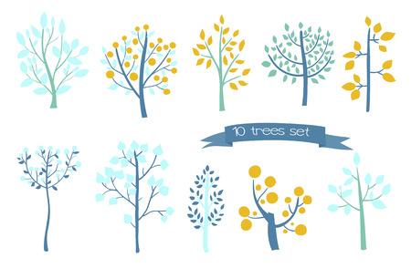 Set of 10 hand  drawn tress on white background.