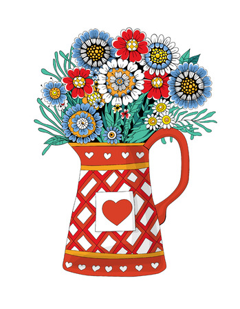 pot leaf: Hand drawn bouquet of flowers and leaves in pot on white background.