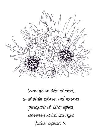 ramo de flores: Dibujado a mano ramo de flores y hojas sobre fondo blanco.