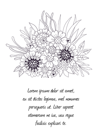 pot leaf: Hand drawn bouquet of flowers and leaves on white background.