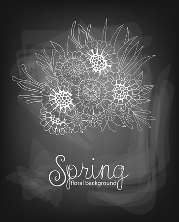 gradient meshes: Hand drawn bouquet of flowers and leaves on chalkboard background. Vector illustration contains gradient meshes.
