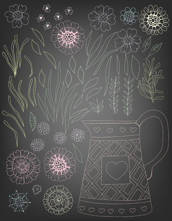 gradient meshes: Hand  drawn set of various flowers and leaves and pot on chalkboard background. Vector illustration contains gradient meshes.