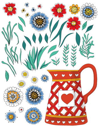 pot leaf: Hand  drawn set of various flowers and leaves and pot on white background. Illustration