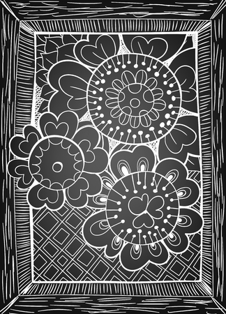 gradient meshes: Hand drawn floral card on chalkboard background. Vector illustration contains gradient meshes.