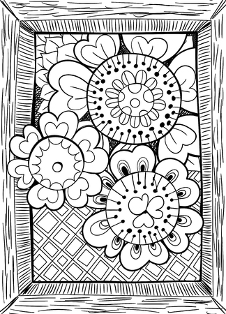 hand drawn frame: Hand drawn floral card. Three doodle flowers on patterned background and hand drawn frame.