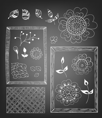 gradient meshes: Hand  drawn elements for design - flowers, leaves, frames and pattern on chalkboard background. Vector illustration contains gradient meshes.