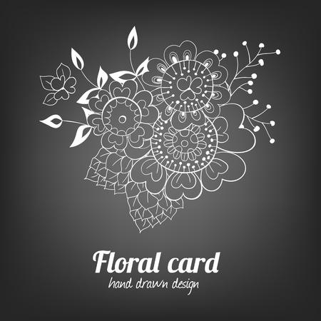 Dibujado a mano la tarjeta de flores. Hermoso ramo de flores de bosquejo y hojas sobre fondo de pizarra. Ilustración del vector contiene mallas de degradado.