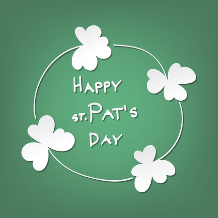 st  patrick day: St. Patrick day card. Frame made of 4 clovers and lettering on green background.