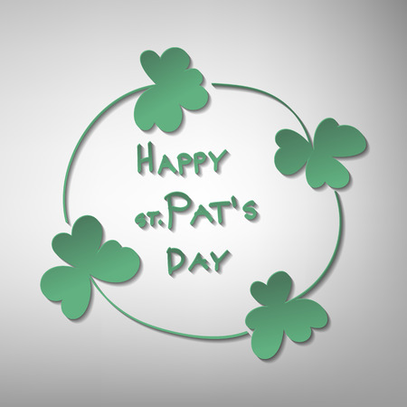 luck: St. Patrick day card. Frame made of 4 clovers and lettering on soft gray background.