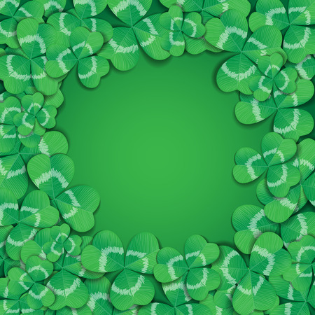 three leaf: St. Patrick day card. Frame made of many three leaf clovers on green background. Illustration