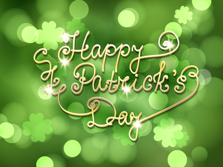 st patrick: St. Patrick day card. Green bokeh background with lettering. Illustration