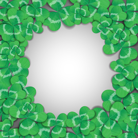 three leaf: St. Patrick day card. Frame made of many three leaf clovers on white background.