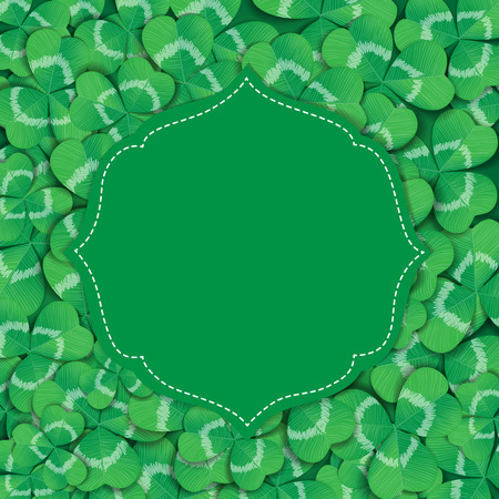 three leaf: St. Patrick day card. Green label with space for text on background covered with many three leaf clovers.