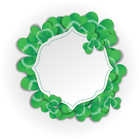 clovers: St. Patrick day card. Green label with space for text and clovers on white background.