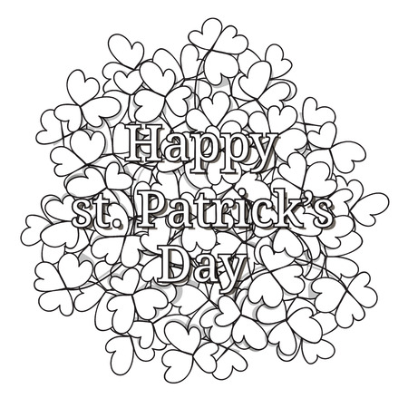 clovers: St. Patricks day card. Hand drawn clovers and lettering on white background. Illustration