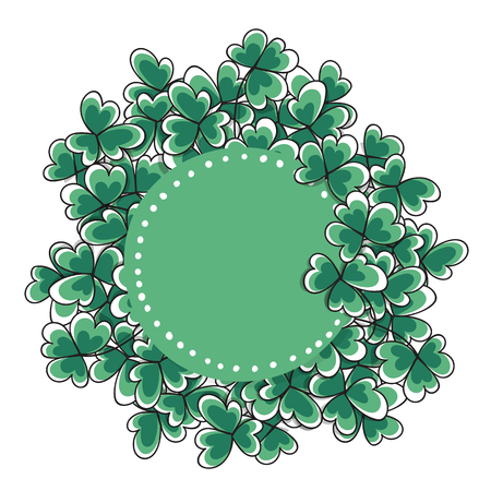 clovers: St. Patricks day card. Hand drawn clovers and label with space for text on white background.