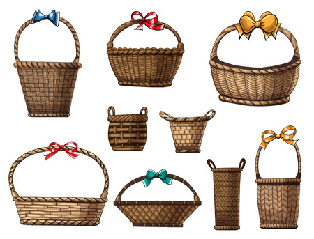 hand basket: Hand  drawn collection of various baskets and bows on white background.