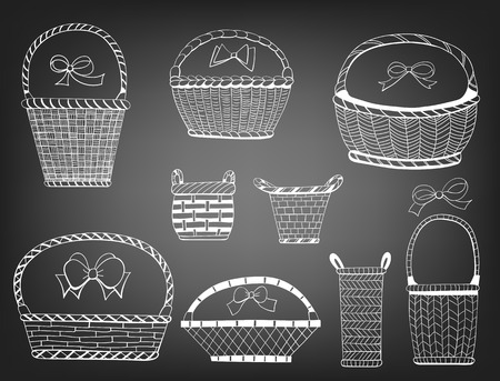 hand baskets: Hand  drawn collection of various baskets and bows on chalkboard background. Illustration