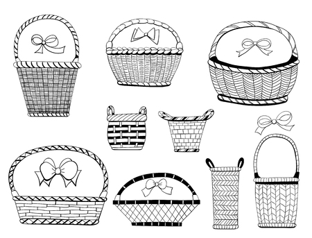 hand baskets: Hand  drawn collection of various baskets and bows on white background.