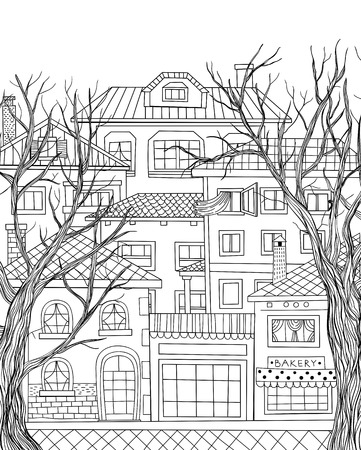concrete stairs: Hand drawn houses and two big trees. Town line drawing. Illustration