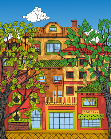 summer trees: Hand drawn houses and trees. Town street in summer sunny day.