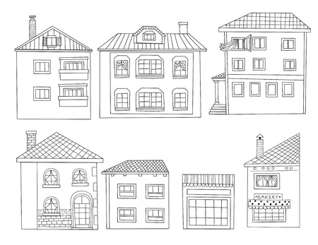 concrete stairs: Collection hand drawn houses on white background.