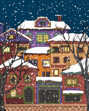 maisons et arbres dessinés à la main. rue de ville dans la nuit d'hiver enneigé.