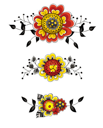 flower  hand: Set of 3 floral decoration. Bouquets of hand  drawn flowers and leaves may be used for page decoration, dividers or frames. Elements for design.