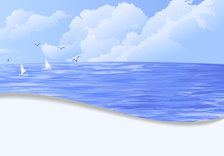 Sea and sky with clouds, two boats and flying birds. Summer vacation illustration. Template design with blank space for text.