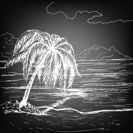 fluffy clouds: Hand-drawn summer illustration. Tropical beach with palm, sea and fluffy clouds on sunny day. Illustration