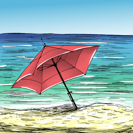 sunny beach: Hand-drawn summer illustration. Tropical sand beach, umbrella and sea on sunny day.