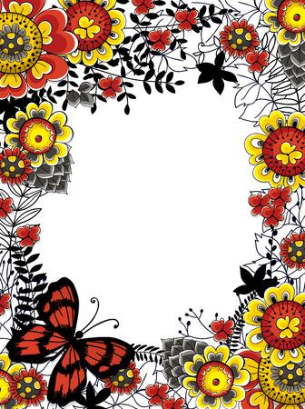 borde de flores: Dibujado a mano marco hecha de varias flores, hojas y mariposas. Modelo de la tarjeta floral con espacio para el texto.